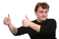 Young man shows gestures. By the hands 2 Royalty Free Stock Images