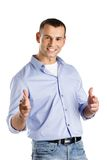 Young man shows hand guns gesture Royalty Free Stock Photos