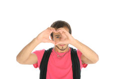 Young man shows heart symbol Stock Photos