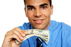 Young man shows money Stock Photo