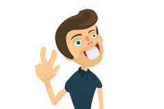 Young man shows two fingers.nFlat. Caricature. Cartoon. Stock Image
