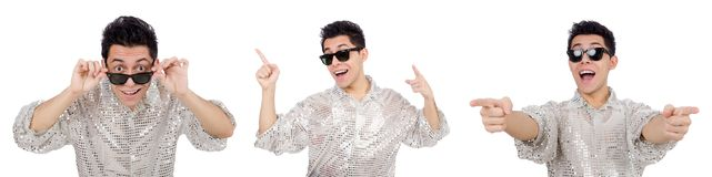 The young man in silver shirt isolated on white. Young man in silver shirt isolated on white Stock Image