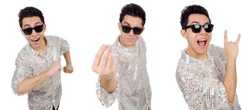 The young man in silver shirt isolated on white. Young man in silver shirt isolated on white Stock Photos