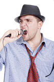 Young man singing Stock Photos