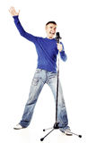 A young man singing Royalty Free Stock Photography