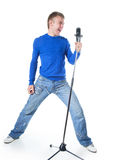 A young man singing Stock Image