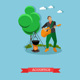 Young man singing and playing guitar near campfire, vector illustration. Young man singing and playing acoustic guitar near campfire. Camping and acoustics Royalty Free Stock Images