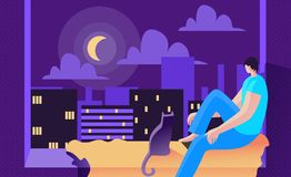 Young Man Sits at Night on Window and Looks Moon. royalty free illustration