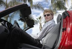 Young Man Sitting In Convertible Car Stock Images