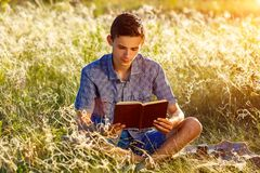 Young man sitting in nature reading a book stock images