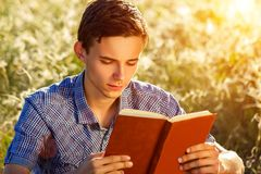 Young man sitting in nature reading a book stock photos
