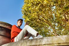 Young man sitting in park and using smart phone Stock Photos