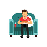 Young man sitting on a red armchair eating and watching TV with red hearts in his eyes  Illustration Stock Photos