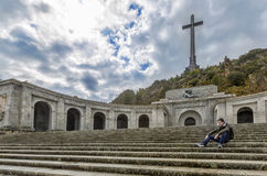 Young man is sitting  thoughtful on-site Valley of the Fallen Stock Photos