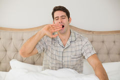 Young man sitting and yawning in bed Royalty Free Stock Photography