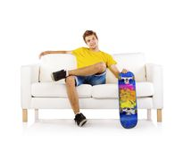 Young man with skateboard Royalty Free Stock Images