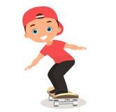 Young man skateboarding. Cartoon boy skater riding a skateboard and doing a skateboard trick. Flat design. Vector illustration eps. 10 Stock Image