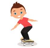 Young man skateboarding. Cartoon boy skater riding a skateboard and doing a skateboard trick. Flat design. Vector illustration eps. 10 Royalty Free Stock Photo