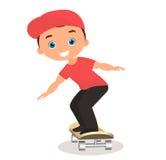 Young man skateboarding. Cartoon boy skater riding a skateboard and doing a skateboard trick. Flat design. Vector illustration eps Stock Photos