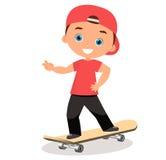 Young man skateboarding. Cartoon boy skater riding a skateboard and doing a skateboard trick. Flat design. Vector illustration eps Royalty Free Stock Photo