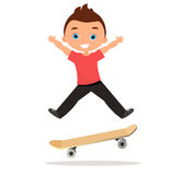 Young man skateboarding. Cartoon boy skater riding a skateboard and doing a skateboard trick. Flat design. Vector illustration eps Stock Photography