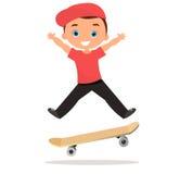 Young man skateboarding. Cartoon boy skater riding a skateboard and doing a skateboard trick. Flat design. Vector illustration eps Royalty Free Stock Photos