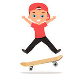 Young man skateboarding. Cartoon boy skater riding a skateboard and doing a skateboard trick. Flat design. Vector illustration eps Stock Image