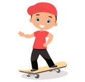 Young man skateboarding. Cartoon boy skater riding a skateboard and doing a skateboard trick. Flat design. Vector illustration eps Stock Photography