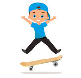 Young man skateboarding. Cartoon boy skater riding a skateboard and doing a skateboard trick. Flat design. Vector illustration eps Stock Photos