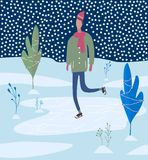 Young man skating on Ice rink. Winter activities. vector illustration