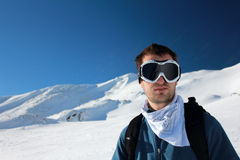 Young man at ski Stock Images