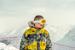 Young man in ski goggles outdoors Stock Photography