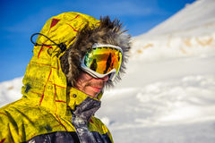 Young man in ski goggles outdoors Royalty Free Stock Images
