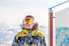 Young man in ski goggles outdoors Royalty Free Stock Image