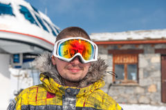 Young man in ski goggles outdoors Royalty Free Stock Photography
