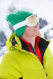 Young Man On Ski Holiday In Mountains Royalty Free Stock Images
