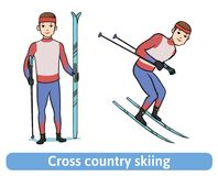 A young man with ski. Skier standing and running. Cross country skiing, winter sport, active recreation. Vector Stock Image