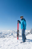 Young man with ski stock image