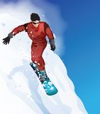 Young man skiing. On the slopes Royalty Free Stock Image