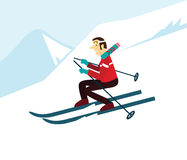 Young man skiing. Stock Photo