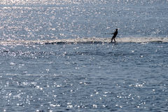 Young man is skiing in the sea Stock Image