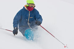 Young man skiing in snowstorm. In Georgia Stock Image
