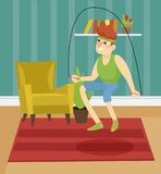 Young man skipping with jump rope on the background of living room apartment colorful vector illustration. In cartoon style Royalty Free Stock Photos