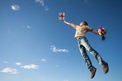 Young man in the sky Royalty Free Stock Photo