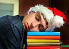 Young Man sleep on the Books Stock Photos