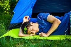 Young Man sleep outdoor stock image