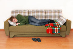 Young man sleeps Stock Image