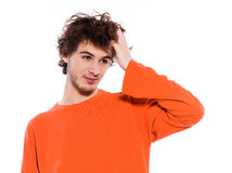 Young man sleepy portrait Stock Image