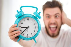 Young man slept the day away Stock Photo