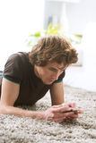 Young man with smartphone stock photo
